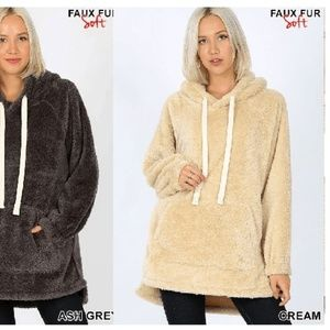 NEW CREAM PULLOVER SHERPA FAUX FUR HOOD JACKET TOP